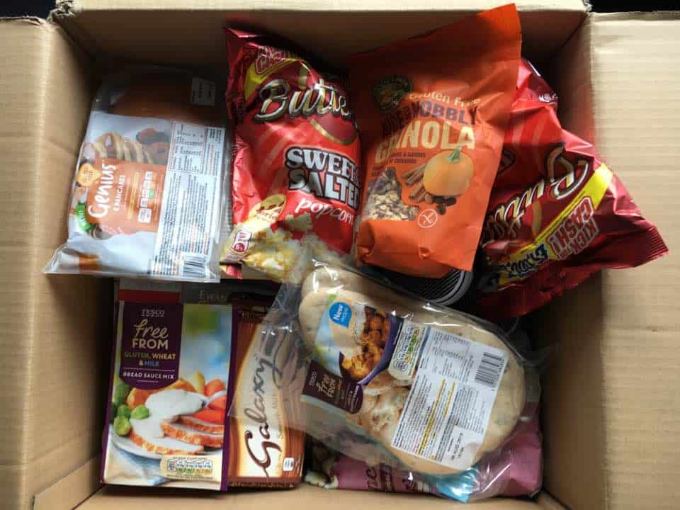 box of gluten free food from England