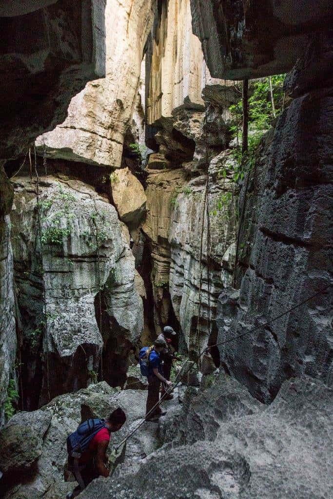 Climbing via ferrata in the Tsingy in Madagascar