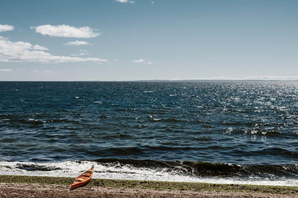 Kayak on the beach in Peninsula Valdes