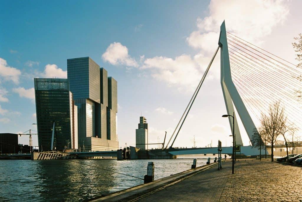 Rotterdam river Maas, Erasmus bridge and Nhow hotel