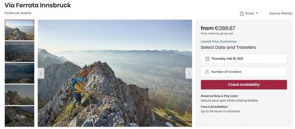 Via ferrata mountain guide in Innsbruck Austria on Viator travel website