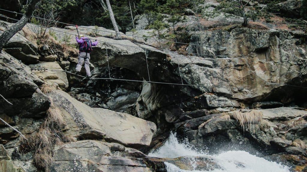 crossing the Stuibenfall waterfall on the via ferrata
